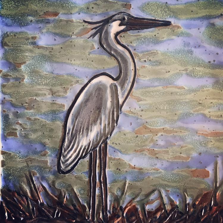 Egret tile;stoneware