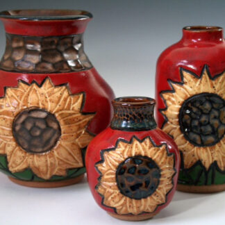 Red Sunflower Vases