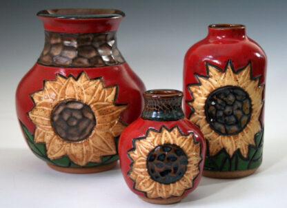 Red Sunflower Vases