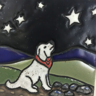 White dog Night Tile