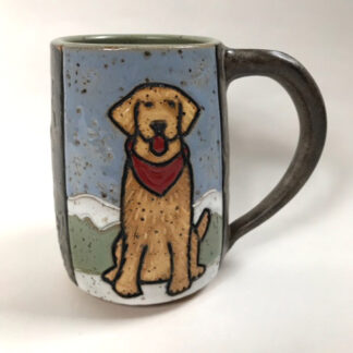 Yellow Dog in the Snow Mug